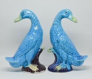 Antique Pair Chinese Porcelain Duck Figurine 7 5 Inches Tall