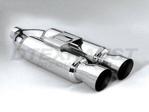 Dtm 132 Hi Polished Stainless Muffler Dual 4 Round With 3 5 Dual Slanted