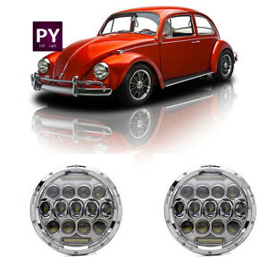 7inch Round Led Headlights Chrome Upgrade Kit Halo Drl For Vw Beetle Classic