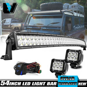 For Ford F150 Dot 54 Inch Curved Led Light Bar Combo Beam 2x Pods Wiring Kit