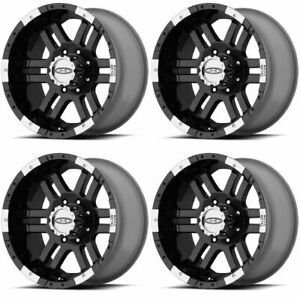 Set 4 17 Moto Metal Mo951 Black Machined Rims 17x9 8x6 5 12mm Chevy Gmc 8 Lug