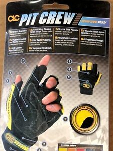 New Clc Pit Crew Gloves Fingerless Yellow black 225y Size M Free Shipping