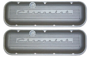 Chevrolet 396 427 454 502 Big Block Valve Covers With Raised Logo Satin Pml