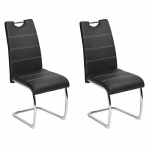 Set Of 2 Faux Leather Upholstered Dining Side Chair U shaped Chrome Metal Legs