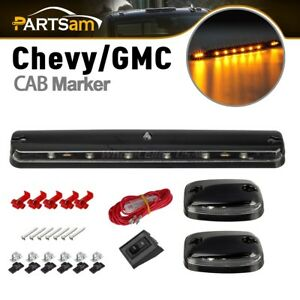 Amber 12led Top Roof Running Marker Lights Clear Lens For 07 14 Chevy Gmc Pickup