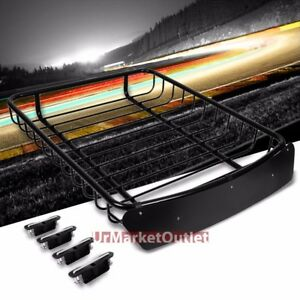 51 x40 Black Roof Rack Top Cargo Luggage Basket wind Deflector brackets For Suv