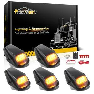 5xamber Led Black Lens Cab Roof Top Lights wire For Ford F 150 F 250 F 350 80 97