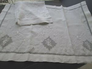 Antique White French Linen Pair Pillow Layovers Cherubs Embroidery 30 X 40