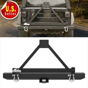 For Jeep Wrangler 87 96 Yj 97 06 Tj Powder Coated Rear Bumper W Tire Carrier