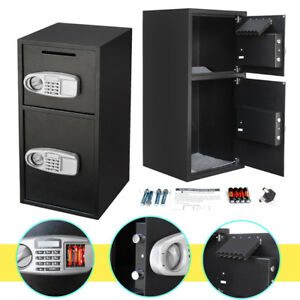 Double Home Security Keypad Lock Depository Cash Jewelry Gun Safe Box For Money