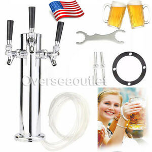 3 Tap Triple Faucet Stainless Steel Draft Beer Tower Homebrew Bar For Kegerator
