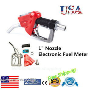 Fuel Gasoline Diesel Petrol Delivery Flow Meter Nozzle Refill Gun Dispenser Usa