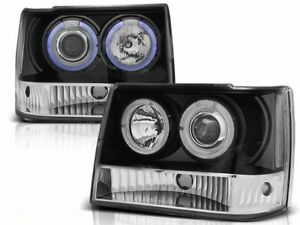 Jeep Grand Cherokee 1993 1994 1995 1996 1997 1998 Lpch12 Headlights Halo Black