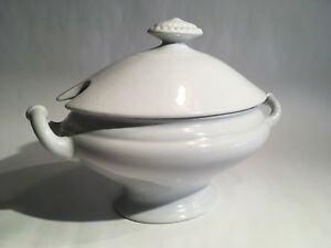 Antique Imperial White Ironstone China Covered Sauce Tureen C C