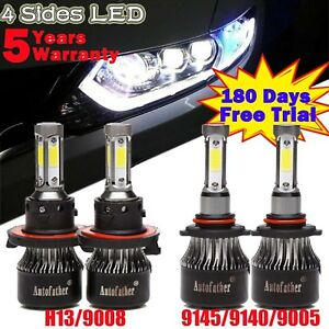 H13 9005 Led Headlight Bulbs High Low Beam Kit For Ford F 105 Expedition