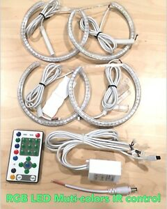 Rgb Smd Led Ir Remote Angel Eyes Halo Ring Kit For 99 03 E46 Coupe For 01 06 M3