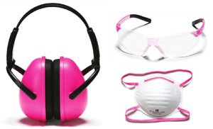 Signet Safety Glasses Dust Mask Hearing Defend Protection Pink Women Kit 4 Pc
