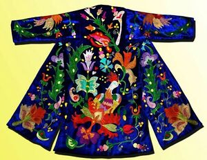 Magnificent Uzbek Silk Embroidered Robe Chapan Bird In Ottoman Style V1262
