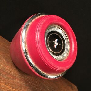 Vintage Ford Mustang Horn Button Red Leather Steering Wheel Center Priority Mail