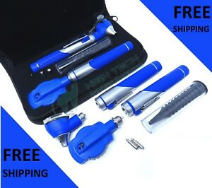 Dual Head Fiber Optic Otoscope Ophthalmoscope Exam Led Diagnostic Ent Set Blue