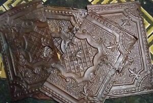 Vintage 1920 S Reclaimed 24 X 14 Old Metal Ceiling Tin Tiles Lot Of 4