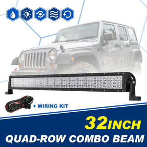 Led Light Bar Cree Quad Row 32inch 2160w Combo Offroad Driving 4wd Truck Ute 30