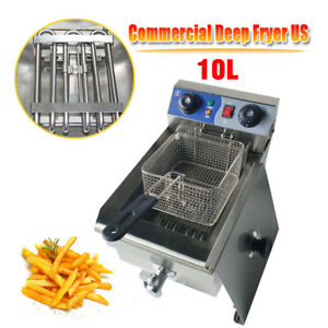 10l Commercial Electric Deep Fryer Restaurant Fry Cooker Timer Stainless Steel
