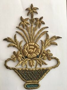 19th C Antique Ottoman Turkish Gold Metallic Hand Embroidery F Applique 24cm N3
