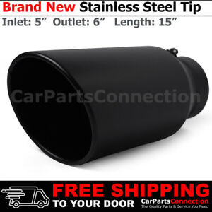 Angled Black 15 Inch Bolt On Exhaust Tip 5 In 6 Out Stainless Truck 202746