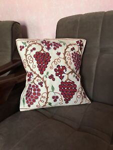Grape Copy Uzbek Handmade Vintage Embroidery Suzani Pillowcase