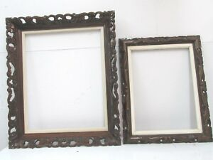 2 Lot Vintage Walnut Mohagany Stain Picture Wood Frames Carved Lattice