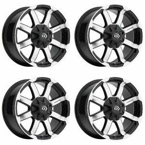 Set 4 17 Vision 413 Valor Black Machined Wheels 17x8 5 8x180 Chevy Gmc 8 Lug