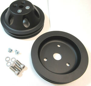 Sb Chevy Sbc Black Billet Aluminum 2 Groove Belt Short Pump Pulley Kit W Bolts