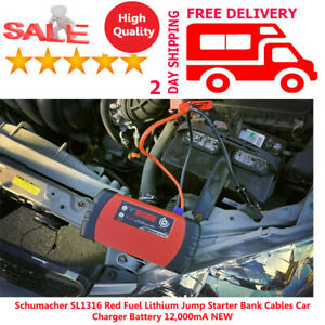 Schumacher Sl1 Red Fuel Lithium Jump Starter Bank Cables Car Charger Battery