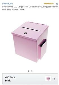 Source One Llc Large Steel Donation Box Suggestion Box With Side Pocket Pink