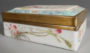 China Chinese Famille Rose Enamel Porcelain Brass Box Floral Decor Ca 1900
