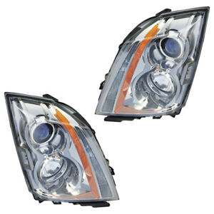 Pair New Left Right Headlight Assembly For Cadillac Cts 2008 2009 2010