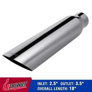 Universal Stainless Steel Exhaust Tip Tail Pipe 2 5 Inlet 3 5 Outlet 18 Long
