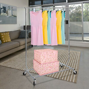 Clothing Garment Rack Rolling Storage Adjustable Length Heavy Duty Collapsible