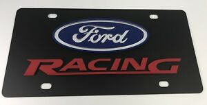 Ford Racing Red Black Carbon Steel Premium 3d License Plate