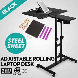 Adjustable Height Rolling Laptop Desk Table Tattooing Cart Black Steel Good