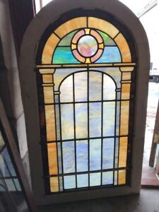 Sg 1848 Antique Arch Top Stainglass Window Pastel 32 5 X 55