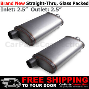 2 5 Inch Offset In Center Out Stainless Steel Straight Street Muffler X2 199463