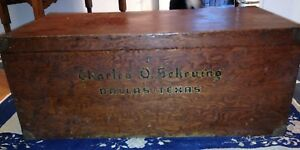Vintage Early 20th Century Texas Handmade Blanket Box Trunk World War I