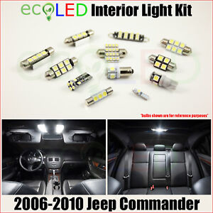 For 2006 2010 Jeep Commander White Led Interior Light Accessories Kit 10 Bulbs