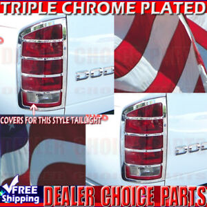 2002 2006 Dodge Ram 1500 2003 2006 2500 3500 Chrome Tail Light Bezel Covers Trim