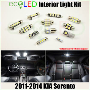For 2011 2014 Kia Sorento White Led Interior Light Accessories Package Kit 11 Pc