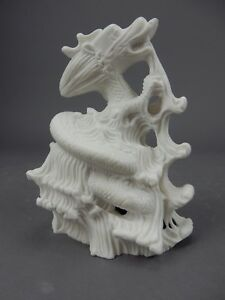 Large Chinese Intricately Carved White Stone Dragon Statue 7 5
