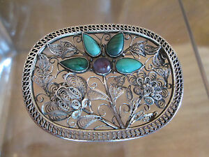 Chinese Silver Filigree Brooch 1920 Turquoise Amethyst Floral Garden Design
