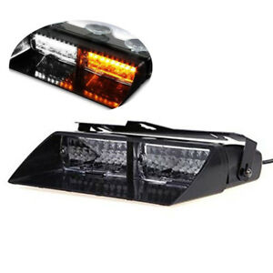 White Amber 16 Led 18w Strobe Light Windshield Emergency Flash For Interior Dash